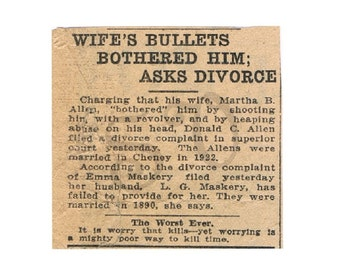 Antique Newspaper Print Article Divorce Digital Image Sepia 1920s