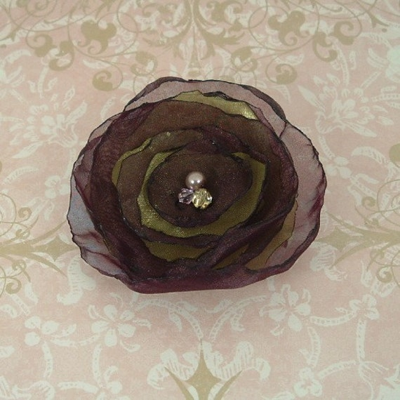 Plum Organza Flower Hair Clip with Moss Green and Crystals