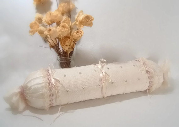Shabby Chic Pillow Victorian Cream and Lavender Neckroll with Beaded Accents