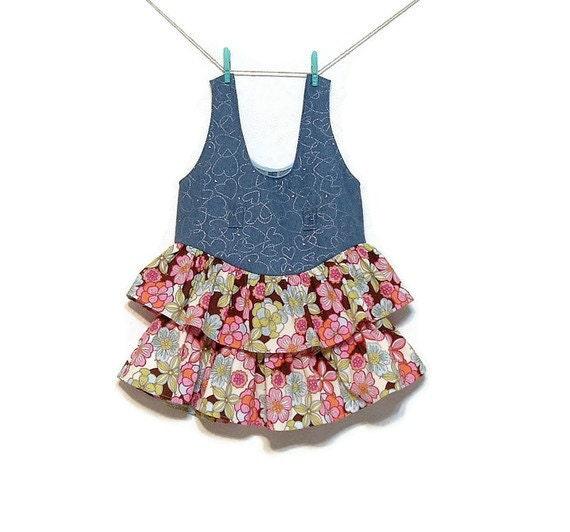 Girls Denim Jumper Dress Floral Cotton Ruffles Girls size 6X