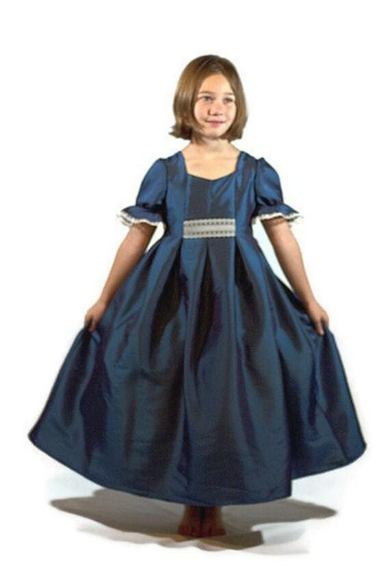 Lovely Victorian Style Blue Taffeta Dress Girls Size 7