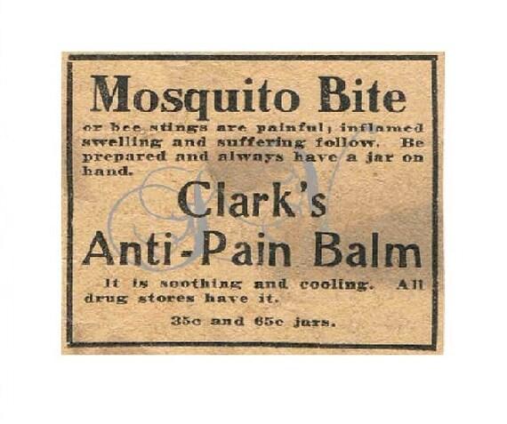 Antique Newspaper Print Advertisement Digital Image Clarks's Anti-Pain Balm