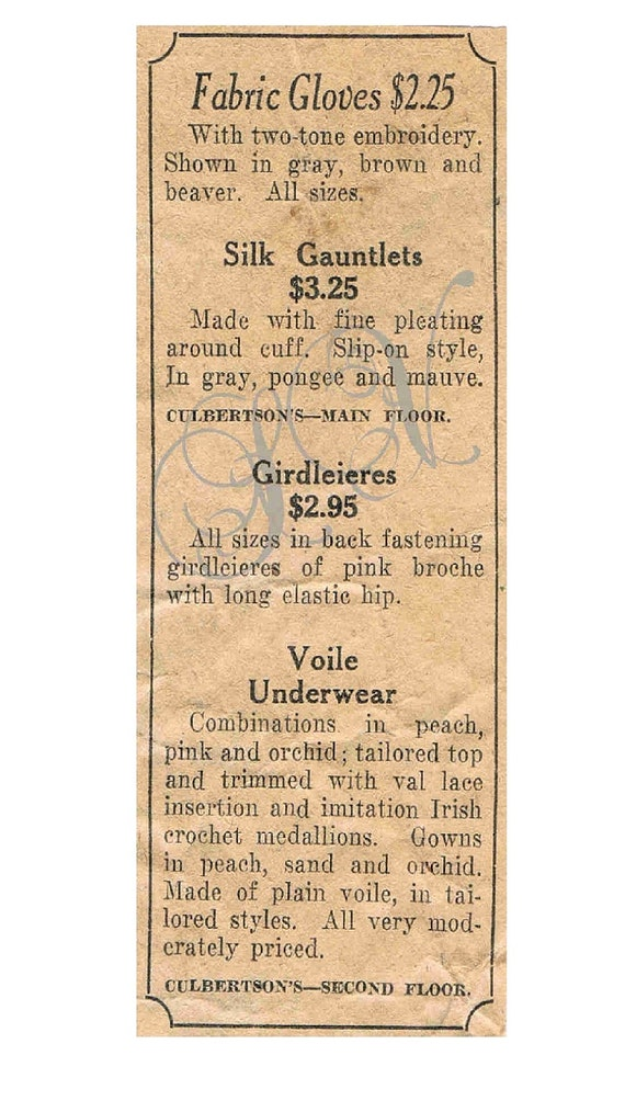 Antique Newspaper Print Ad Fabric Gloves 1920s Shabby Chic Scrapbooking