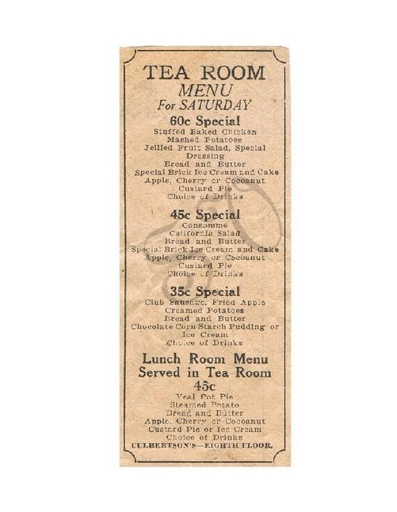 Antique Newspaper Print Advertisement Tea Room Menu Sepia Toned Digital Image Scrapbooking Shabby Chic