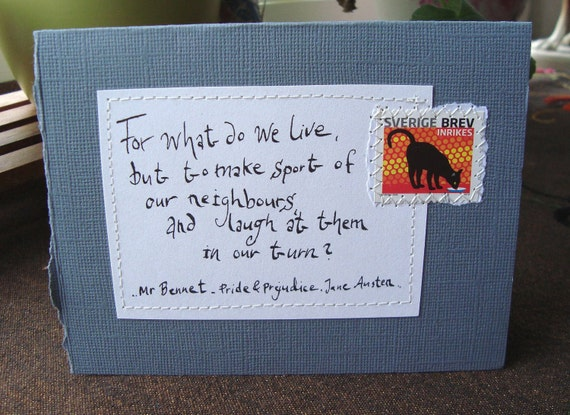 For what do we live .. Quote from Pride and Prejudice Card with written quote and postal stamp Dark Grey