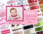 Baby Hair Clips - Infant Hair Clip - Toddler Hair Clips- Baby Snap Clips - U-PICK 6 No-Slip, Simply Lined Baby Snap Everyday Hair Clips