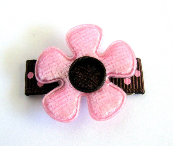 1 No-Slip, Pink and Brown Velvet Flower  on dots Baby Snap Clip