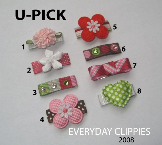 JULY SPECIAL..U-Pick 3 No-Slip Mini Baby Snap Clips....ONLY .99 CENTS SHIPPING RATE...