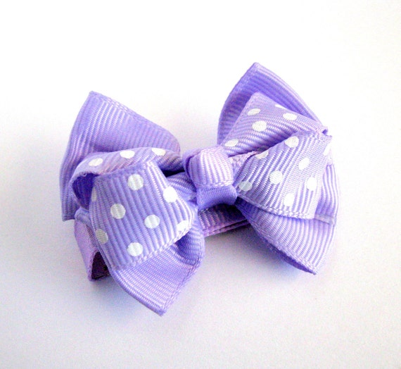 1 No-Slip,  Lavender Double Layered Ribbon Hair Bow Clippie