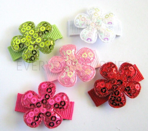 5 No-Slip, Sequin Flower Strawberry Themed Baby Snap Clip Set