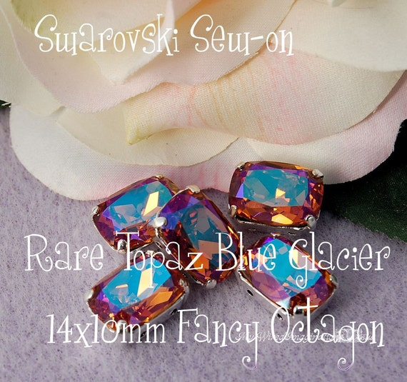 LAST ONE - Swarovski Sew-on 14 x 10mm Fancy  Topaz Blue Glacier