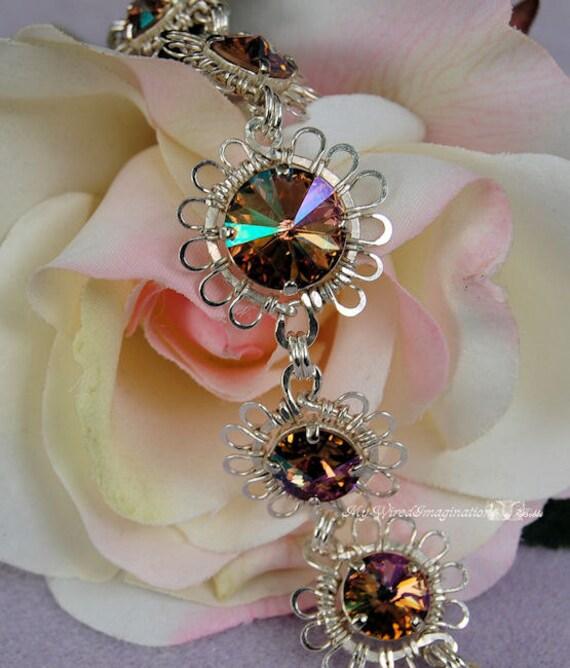 Fanciful Flowers - Swarovski Purple Haze Crystal Rivoli Link Bracelet in Fine Silver, Sterling Silver and SP