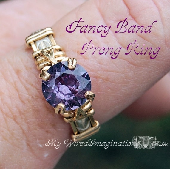Wire Jewelry Tutorial Wire Wrapped Fancy Band Prong Ring Instant Downloadable PDF File How to Make a Ring Instructions Ring Design Pattern