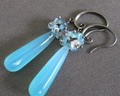 SUPER SALE Long Aqua Chalcedony Briolette Topaz Oxidized Silver Earrings