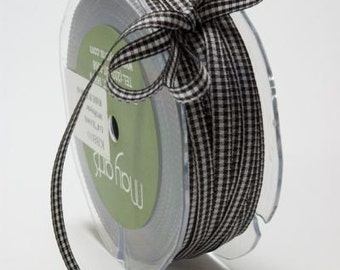 Black and White Gingham Ribbon - Black Gingham Ribbon 2yds