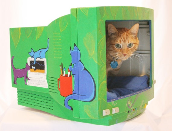 Cat Bed from Recycled Computer Monitor   (CUSTOM)