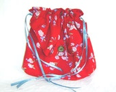 Drawstring bag daily tote handbag upcycled rayon red with pink and blue flowers - AccessoriesByKelli