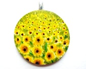 Watercolor Daisy Field Pendant With Free Cord