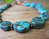 Turquoise Stone Bracelet - Simple - Copper - Nuggets - Rich - Earthy - Natural - Canada - Summer Fall Fashion - Large Plus Size
