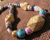Brown Blue Puplple Gemstone Necklace - Mystic -  Sale