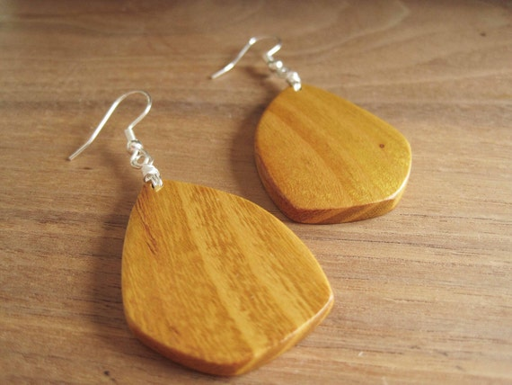Wood Earrings - Osage Orange - Golden Yellow - Bright and Earthy Jewelry - Wooden