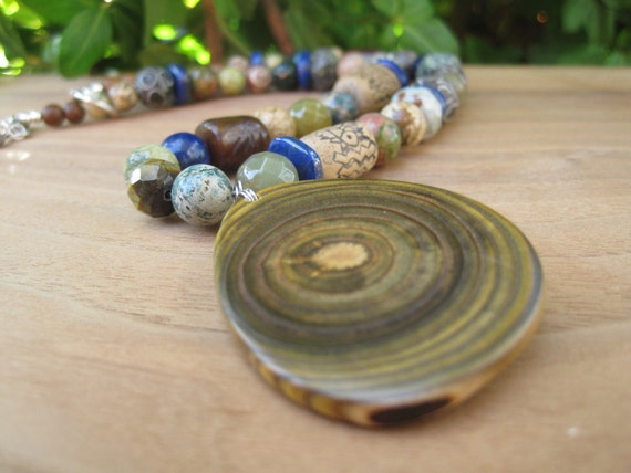 Stone and Wood  Necklace - Jewelry - Branch Pendant - Chunky - Jungle - Carved Beads - Green Sapphire Blue Brown Green Beige