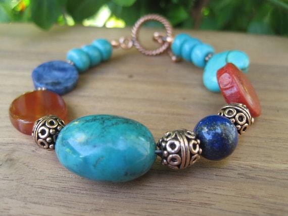 Gemstone Bracelet - Stone - Orange Turquoise Red Sapphire Blue - Copper - Funky Chunky - Bold - Colorful Fashion Jewelry - Southewestern