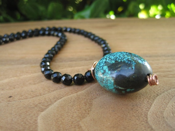 Turquoise Stone and Black Onyx Necklace - Faceted - Pendant - Copper - Classy - Simple - Funky Jewellery