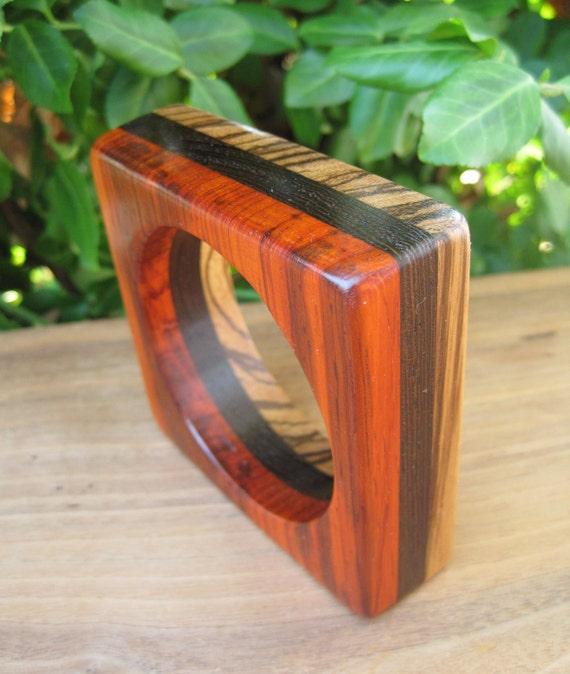 Exotic Wood Bangle - Striped - Square - Geometric - Black Orange Brown - Funky Jewelery - Woodworking - Stripe - Statement - Size Small