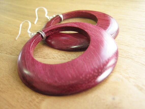 CUSTOM ORDER - Wood Hoop Earrings - Exotic - Purple Heart - Large -Natural -  Purple - Earthy Jewelry - Funky - Canada