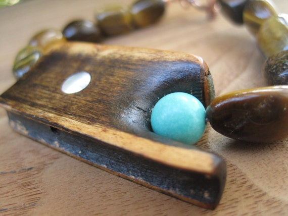 Violin Bow Bracelet - Gemstone - Stone - Tiger Eye - Brown - Turquoise - Musical Jewellery - Instrument - Copper - Salvaged - Recycled