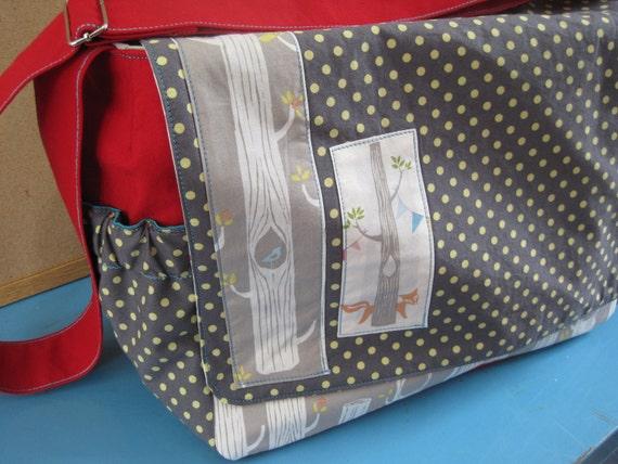 Custom Diaper Bag - Handmade - Large - Prints - Lots of Pockets -  Elephant - Trees - Nature - Boy - Girl - Unisex - Baby Shower Gift