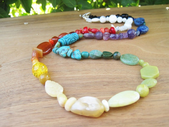 Rainbow Road - Rich Stone Necklace - White Black - Multi - Color Blocking - Medium Length - Turquoise Yellow Red Green Purple Blue