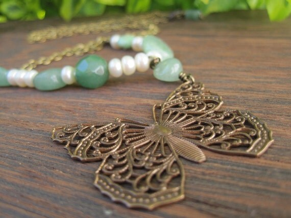 Long Butterfly Necklace - Brass Chain - Mint Green - Pearls - Gold - Antique Look - Natural History - Bohemian - Earthy Summer Jewelry