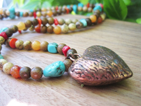 Long Stone Necklace - Turquoise - Brown - Copper Heart Pendant - Gemstone - Funky Jewelry -  Spring Finds - Sale - Wood - Wooden - Boho
