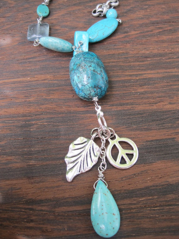 Silver Chain Necklace - Charm - Turquoise - Long - Chunky - Summer Fashion - Peace - Leaf - Dangle - Statement - Stone - Gemstone