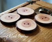 4 Cherry Wood Buttons OOAK 41mm Made to Order