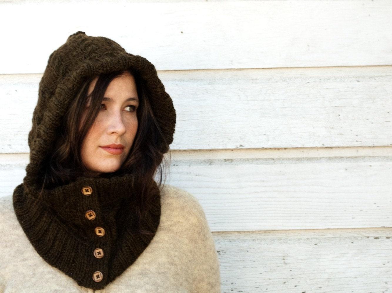 Hooded Neck Warmer Knitting Pattern : Nottingham Hand Knit Hooded Neck Warmer