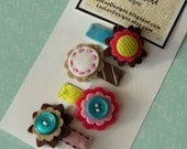 Set of 4 Designer Mini Clips by Lou Lou Designs