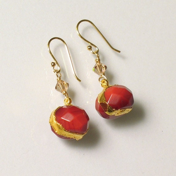 Gold-leafed Agate Earrings