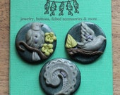 Three teal and silver, Victorian nature themed, polymer clay buttons