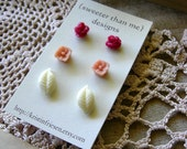 STORE CLOSING SALE Handcrafted Flower Post Earring Set - Cranberry