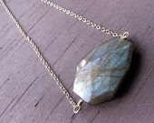 Labradorite Slab Pendant on Sterling Silver Chain Necklace