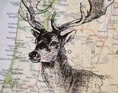 Deer Head on Vintage Map Portland Oregon - 5 x 7