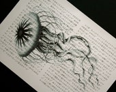 Jellyfish Print - Vintage Japanese Book Page Print - 5 x 7 Beach Decor Jellyfish Art
