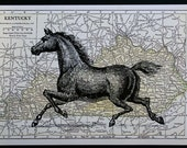 Horse Print Map Art - 5 x 7 Kentucky Derby Horse Art Map Print - Kentucky Derby Print