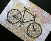 Bicycle Print on Map of Ireland - 5 x 7 Irish Bike Ride - St. Patrick's Day Print - Irish Map Print