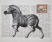 Zebra Print Collage on Vintage French Book Page with African Postage Stamp- 5 x 7