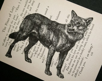 Wolf Print on Vintage Book Page - 5 x 7