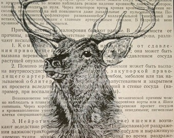 Deer Print - Deer Art - Deer Wall Art - Deer Wall Decor - Deer Art Print - Deer Antlers - Stag Print - Deer Decor - Book Page Print Russian